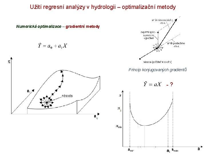 Užití regresní analýzy v hydrologii – optimalizační metody Numerická optimalizace – gradientní metody Princip
