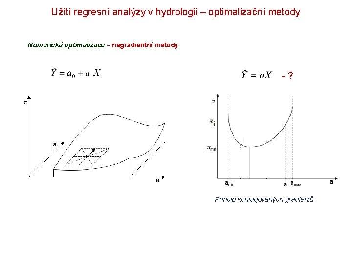 Užití regresní analýzy v hydrologii – optimalizační metody Numerická optimalizace – negradientní metody -?