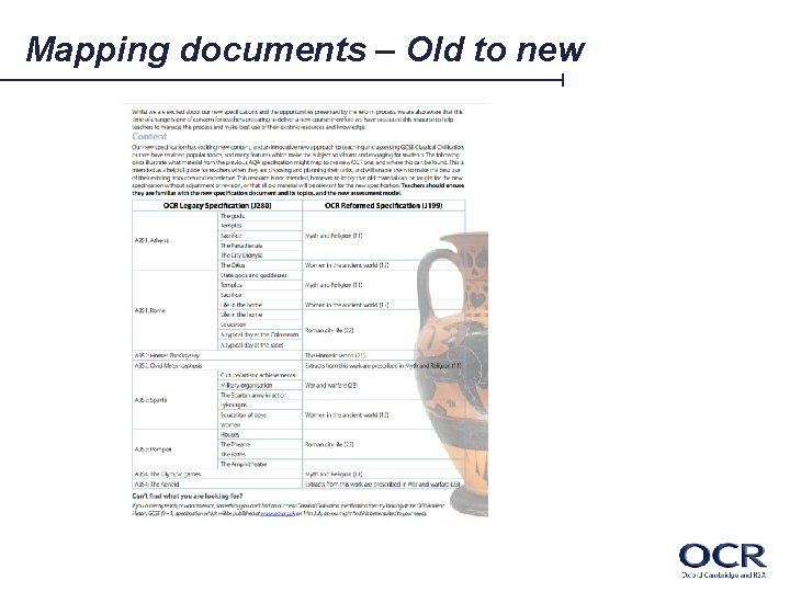 Mapping documents – Old to new