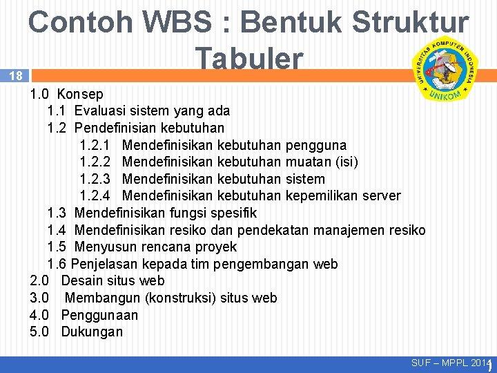 Contoh WBS : Bentuk Struktur Tabuler 18 1. 0 Konsep 1. 1 Evaluasi sistem