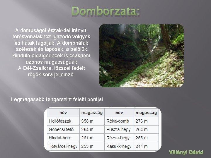 Domborzata: A dombságot észak-dél irányú, törésvonalakhoz igazodó völgyek és hátak tagolják. A dombhátak szélesek