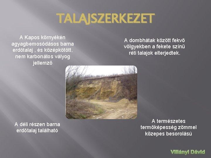TALAJSZERKEZET A Kapos környékén agyagbemosódásos barna erdőtalaj , és középkötött, nem karbonátos vályog jellemző