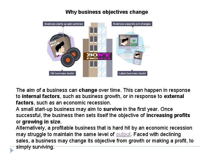 Why business objectives change The aim of a business can change over time. This