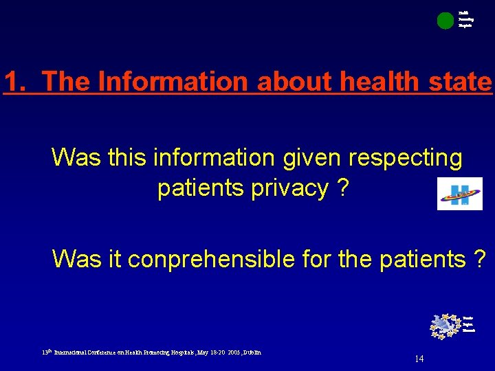 Health Promoting Hospitals 1. The Information about health state Was this information given respecting