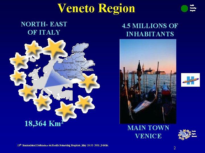 Veneto Region NORTH- EAST OF ITALY 18, 364 Km 2 13 th International Conference