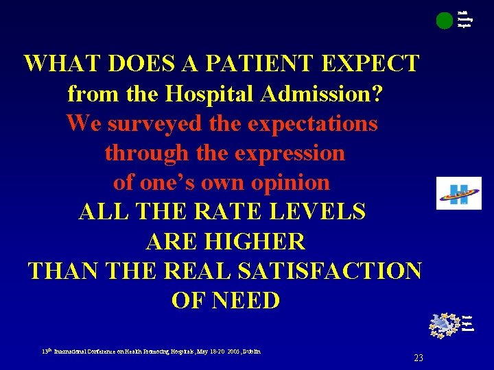 Health Promoting Hospitals WHAT DOES A PATIENT EXPECT from the Hospital Admission? We surveyed