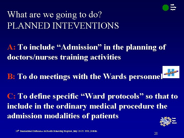 Health Promoting Hospitals What are we going to do? PLANNED INTEVENTIONS A: To include