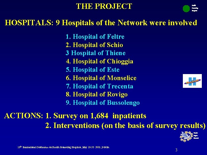 THE PROJECT Health Promoting Hospitals HOSPITALS: 9 Hospitals of the Network were involved 1.