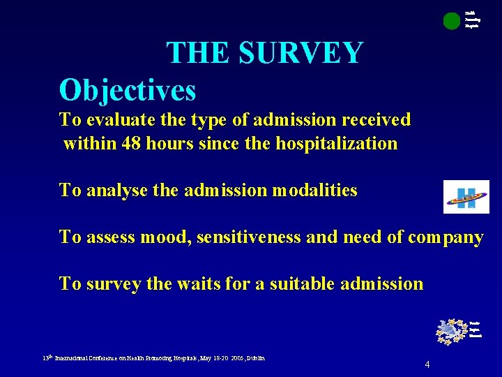 Health Promoting Hospitals THE SURVEY Objectives To evaluate the type of admission received within