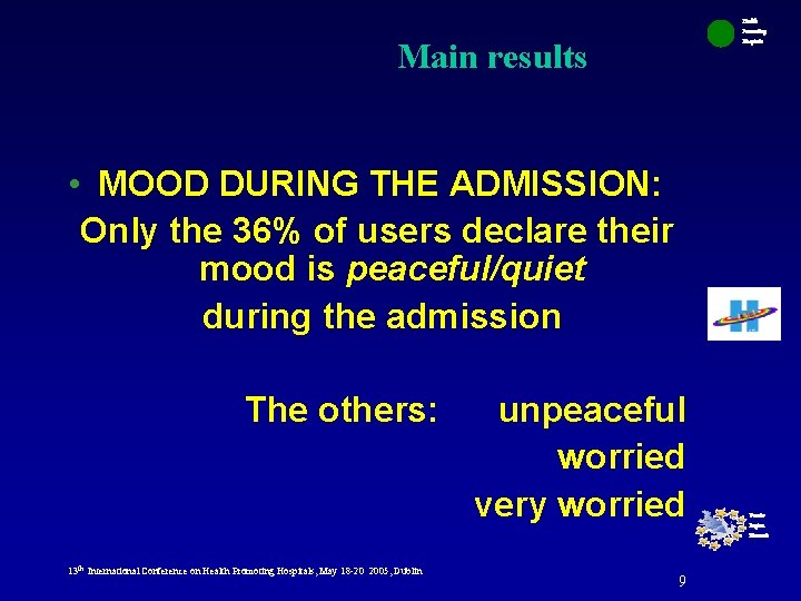 Health Promoting Hospitals Main results • MOOD DURING THE ADMISSION: Only the 36% of