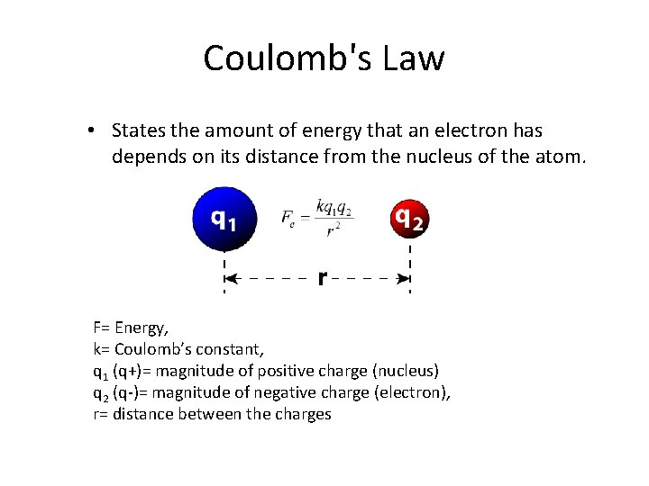 Coulomb's Law • States the amount of energy that an electron has depends on