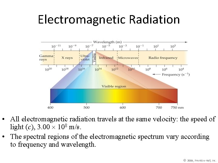Electromagnetic Radiation • All electromagnetic radiation travels at the same velocity: the speed of
