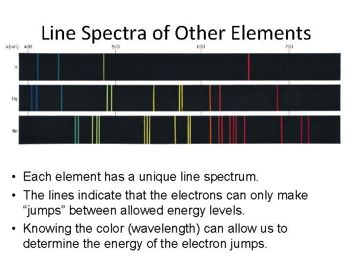 Line Spectra of Other Elements • Each element has a unique line spectrum. •