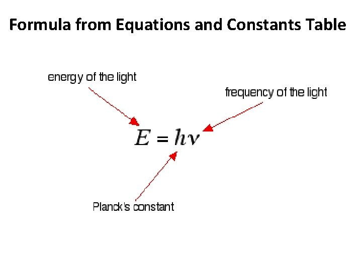 Formula from Equations and Constants Table