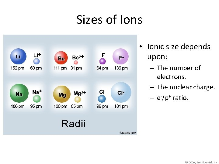 Sizes of Ions • Ionic size depends upon: – The number of electrons. –