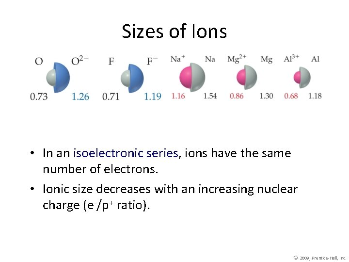 Sizes of Ions • In an isoelectronic series, ions have the same number of