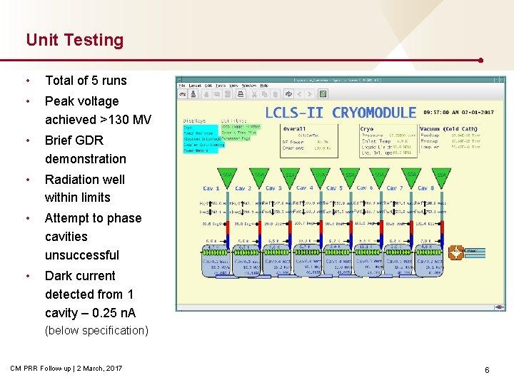 Unit Testing • Total of 5 runs • Peak voltage achieved >130 MV •