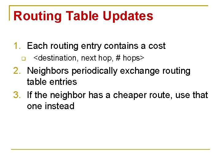 Routing Table Updates 1. Each routing entry contains a cost <destination, next hop, #