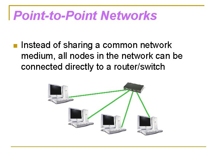 Point-to-Point Networks Instead of sharing a common network medium, all nodes in the network