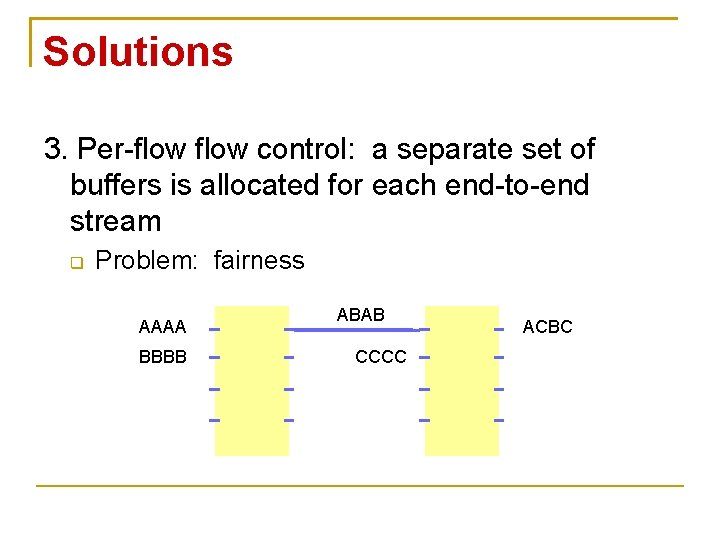 Solutions 3. Per-flow control: a separate set of buffers is allocated for each end-to-end