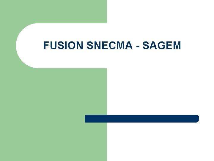 FUSION SNECMA - SAGEM