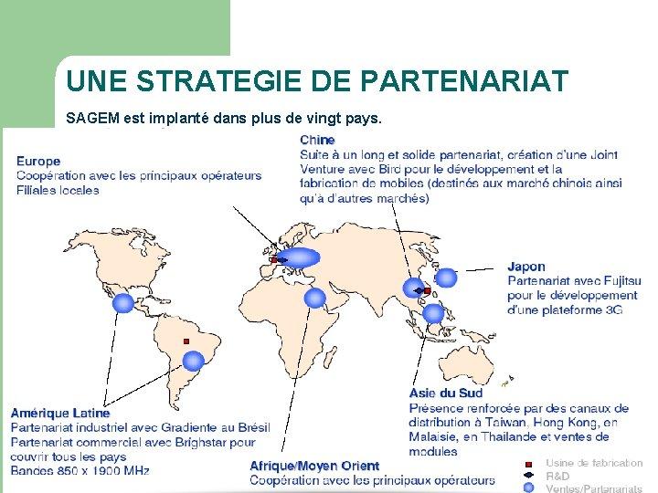 UNE STRATEGIE DE PARTENARIAT SAGEM est implanté dans plus de vingt pays.
