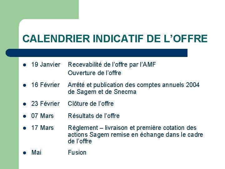 CALENDRIER INDICATIF DE L'OFFRE l 19 Janvier Recevabilité de l'offre par l'AMF Ouverture de