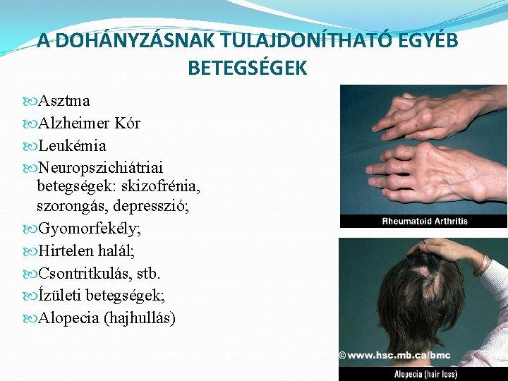 dohányzásból származó ismert betegségek