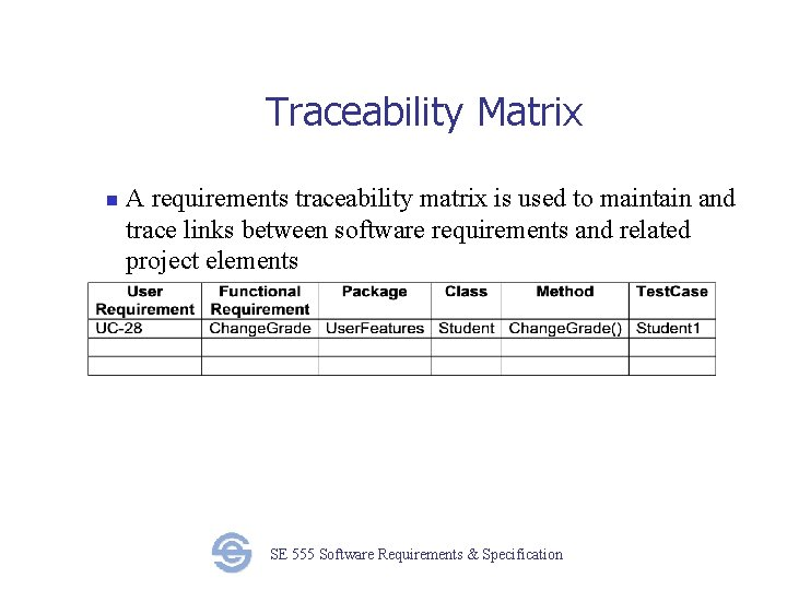 Traceability Matrix n A requirements traceability matrix is used to maintain and trace links