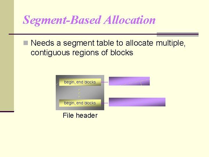 Segment-Based Allocation Needs a segment table to allocate multiple, contiguous regions of blocks begin,