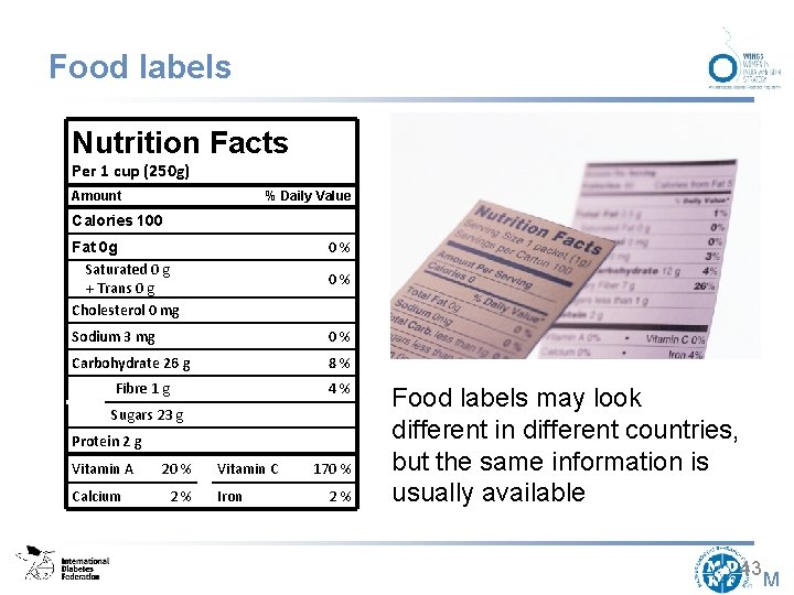Food labels Nutrition Facts Per 1 cup (250 g) Amount % Daily Value Calories