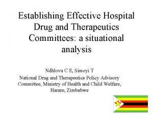 Establishing Effective Hospital Drug and Therapeutics Committees a