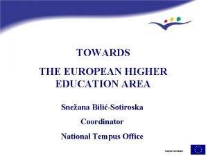 TOWARDS THE EUROPEAN HIGHER EDUCATION AREA Sneana BiliSotiroska