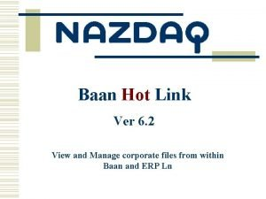Baan Hot Link Ver 6 2 View and
