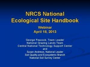 NRCS National Ecological Site Handbook Webinar April 18