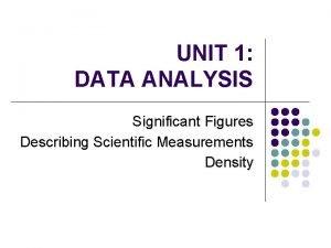 UNIT 1 DATA ANALYSIS Significant Figures Describing Scientific