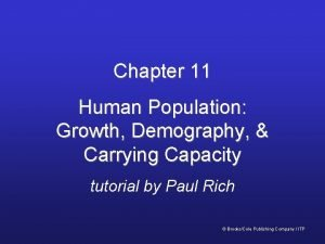 Chapter 11 Human Population Growth Demography Carrying Capacity