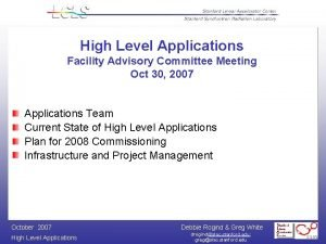 High Level Applications Facility Advisory Committee Meeting Oct