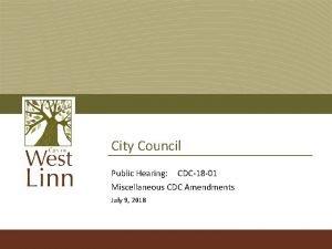 City Council Public Hearing CDC18 01 Miscellaneous CDC
