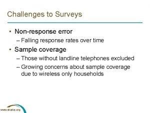 Challenges to Surveys Nonresponse error Falling response rates