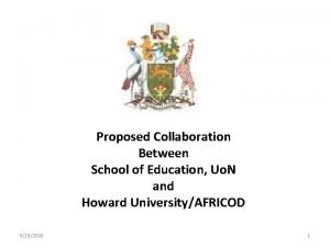 Proposed Collaboration Between School of Education Uo N