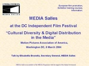European film promotion Exhibitor training courses Information MEDIA