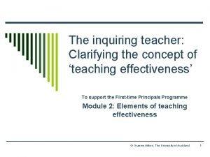 The inquiring teacher Clarifying the concept of teaching