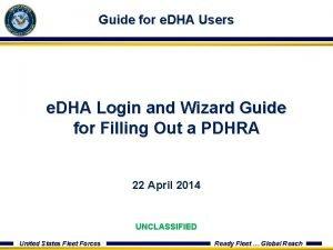 Guide for e DHA Users e DHA Login