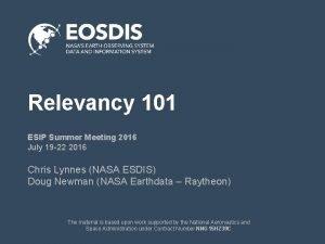 Relevancy 101 ESIP Summer Meeting 2016 July 19
