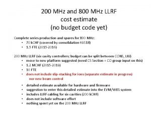 200 MHz and 800 MHz LLRF cost estimate