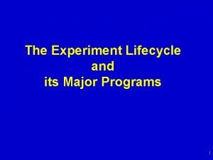 The Experiment Lifecycle and its Major Programs 1