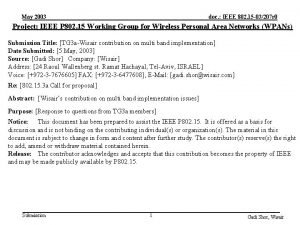 May 2003 doc IEEE 802 15 03207 r