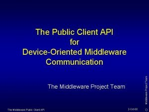 Middleware Project Team The Public Client API for