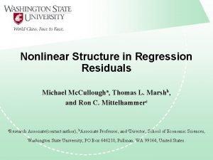Nonlinear Structure in Regression Residuals Michael Mc Cullougha